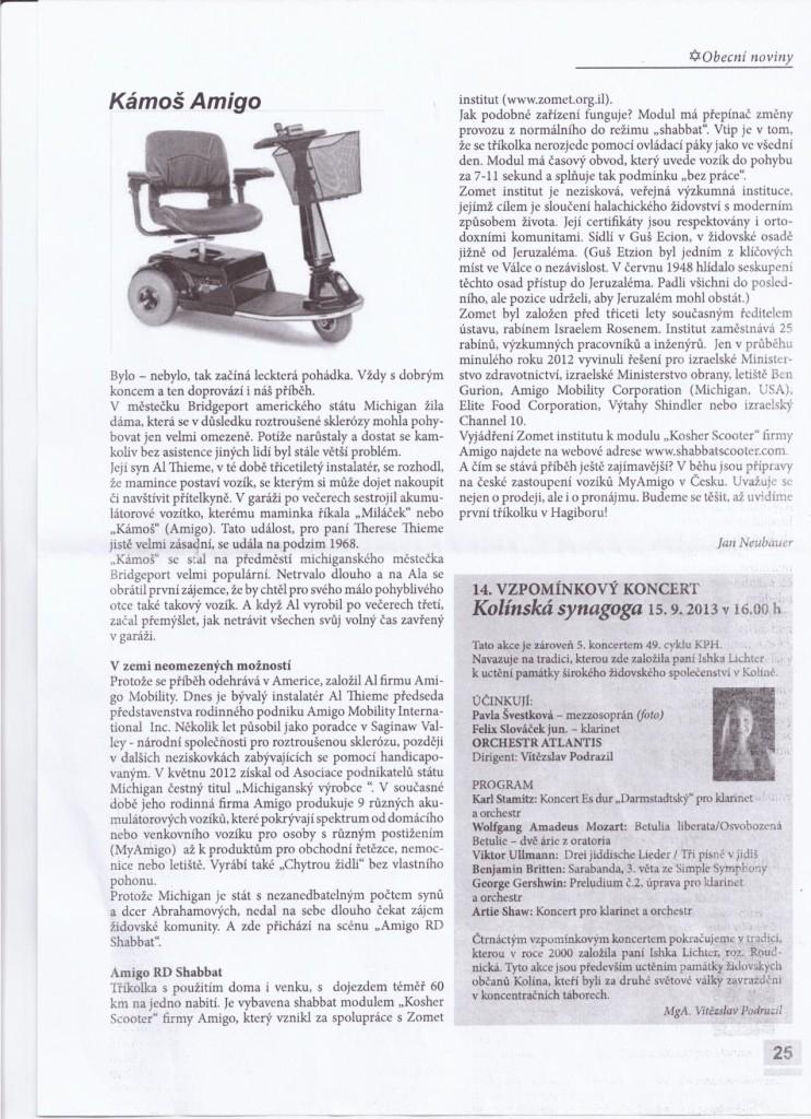 Elektrický nákupní koš Amigo v časopise Obecní noviny